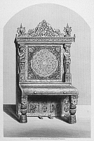 0033630 © Granger - Historical Picture ArchivePIANO.   An Elizabethan-style pianoforte, manufactured by W. Jenkins & Sons. Steel engraving, English, 19th century.
