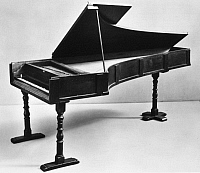 0035379 © Granger - Historical Picture ArchiveCRISTOFORI PIANO, 1720.   Double-action piano by the Florentine harpsichord maker, Bartolommeo Cristofori, 1720, the oldest of three surviving grand pianos he made. Cristofori is credited with making the first piano c1709.