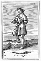 0079775 © Granger - Historical Picture ArchiveDOUBLE AULOS.   Man playing a double aulos, an ancient reed instrument. Copper engraving, 1723, by Arnold van Westerhout.