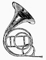 0080014 © Granger - Historical Picture ArchiveFRENCH HORN.   A valveless French horn, or hand horn. Pen-and-ink drawing, early 20th century.