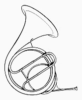 0080015 © Granger - Historical Picture ArchiveFRENCH HORN.   A valveless French horn, or hand horn. Line drawing.