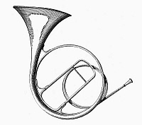 0080017 © Granger - Historical Picture ArchiveFRENCH HORN.   A valveless French horn, or hand horn. Line engraving, 19th century.