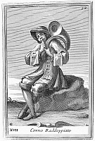0080020 © Granger - Historical Picture ArchiveFRENCH HORN, 1723.   Copper engraving by Arnold van Westerhout, 1723.