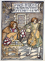 0081027 © Granger - Historical Picture ArchiveHANS JUDENKUNIG, 1523.   The lutanist Hans Judenkunig (at left) accompanied by a violinist. Woodcut, Vienna, 1523.