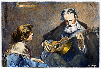 0090222 © Granger - Historical Picture ArchiveGUITAR PLAYER.   Wood engraving, late 19th century, after a painting by Modesto Texidor (1854-1928).