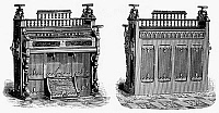 0097023 © Granger - Historical Picture ArchiveCHAPEL ORGAN, 19th CENTURY.   Chapel organ manufactured by the Sterling Organ Company. Wood engraving, American, late 19th century.