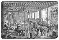 0097150 © Granger - Historical Picture ArchiveINSTRUMENT FACTORY, 1855.   The Gautrot musical instrument factory in Paris. Wood engraving, French, 1855.