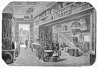 0097155 © Granger - Historical Picture ArchiveINSTRUMENT FACTORY, 1855.   The Gautrot musical instrument factory in Paris. Wood engraving, French, 1855.