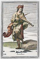 0104434 © Granger - Historical Picture ArchiveKIT, 1723.   A man playing a kit, or dancing master's fiddle. Copper engraving, 1723, by Arnold van Westerhout.