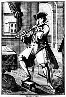 0123621 © Granger - Historical Picture ArchiveTRAVERSE FLUTE, c1720.   Line engraving by Johann Christoph Weigel of a musician playing a traverse flute, from Weigel's 'Musikalisches Theatrum,' Nuremberg, 1715-1725.