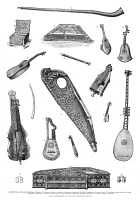 0267807 © Granger - Historical Picture ArchiveMUSICAL INSTRUMENTS, 1870.   Various musical instruments from the collection of the South Kensington Museum in London. Wood engraving, English, 1870.
