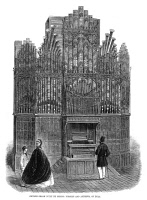 0267809 © Granger - Historical Picture ArchiveCHURCH ORGAN, 1862.   Church organ made by Forster and Andrews of Hull, England, exhibited at the 1862 International Exhibition in London. Contemporary English wood engraving.
