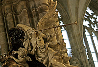 0382441 © Granger - Historical Picture ArchiveMUSICAL INSTRUMENT.     Ceremonial trumpet on a church cherub - posthorn. Prague. Full credit: Chris Stock / Lebrecht Music & Arts / Granger, NYC -- All rights reserved.