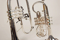 0396357 © Granger - Historical Picture ArchiveMUSICAL INSTRUMENT.   Soprano cornet and a flugelhorn, detail of pistons. Brass band instruments, silver band instruments. Full credit: Chris Stock / Lebrecht Music & Arts / Granger, NYC -- All Rights Reserved.