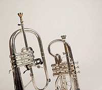 0396359 © Granger - Historical Picture ArchiveMUSICAL INSTRUMENT.   Soprano cornet and a flugelhorn, detail of pistons. Brass band instruments, silver band instruments. Full credit: Chris Stock / Lebrecht Music & Arts / Granger, NYC -- All Rights Reserved.