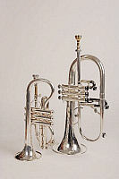0396362 © Granger - Historical Picture ArchiveMUSICAL INSTRUMENT.   Soprano cornet and a flugelhorn. Brass band instruments, silver band instruments. Full credit: Chris Stock / Lebrecht Music & Arts / Granger, NYC -- All right