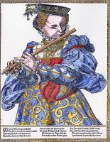 0007351 © Granger - Historical Picture ArchiveFLAUTIST, 16th CENTURY.   German woodcut by Tobias Stimmer (1539-1584).