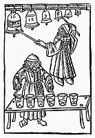 0016263 © Granger - Historical Picture ArchiveMUSICAL SCALE, 1492.   Pythagoras playing the musical scale on bells and water glasses. Woodcut from Franchinus Gaffurius' 'Theorica Musicae,' Milan, 1492.