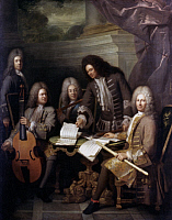 0019644 © Granger - Historical Picture ArchiveLA BARRE & OTHER MUSICIANS.   Oil on canvas, c1710, by Andre Bouys. RESTRICTED OUTSIDE US.