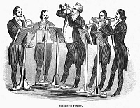 0034716 © Granger - Historical Picture ArchiveDISTIN FAMILY, 1844.   The Distin family brass quintet. Wood engraving, English, 1844.