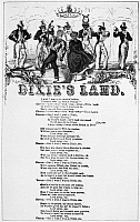 0060596 © Granger - Historical Picture ArchiveMUSIC: DIXIE'S LAND, 1859.   Minstrel show walk-around on a broadside version of 'Dixie's Land,' written by Dan Emmett in 1859 for Bryant's Minstrels.