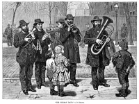 0060843 © Granger - Historical Picture ArchiveGERMAN STREET BAND, 1879.   A German street band performing in New York City. Wood engraving, American, 1879, after a painting by John George Brown.