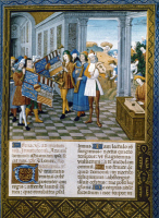 0067039 © Granger - Historical Picture ArchiveCONCERT, 15th CENTURY.   Manuscript illumination by Georges Trubert, late 15th century, from a breviary of Rene II, Duke of Lorraine.