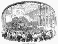 0096724 © Granger - Historical Picture ArchiveLOUIS JULLIEN (1812-1860).   Louis Antoine Jullien, French conductor and composer, conducting a concert in London. Wood engraving, English, 1843.