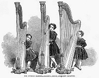 0096954 © Granger - Historical Picture ArchiveYOUNG HARPISTS, 1848.   'The juvenile harpists - Adolphus, Ernest and Fanny Lockwood.' Wood engraving, English, 1848.