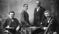 0097275 © Granger - Historical Picture ArchiveTHE BRODSKY QUARTET.   String quartet, left to right: Adolph Brodsky, Rawdon Briggs, Simon Speelman and Carl Fuchs. Photographed by Percy Guttenberg, late 19th or early 20th century.