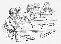 0097484 © Granger - Historical Picture ArchiveBRUSSELS: PIANOFORTE JURY.   The jury for pianoforte at Brussels Conservatoire. Left to right: Alexandre Uninsky, Marcelle Meyer, Joseph Johgen, Gabrielle Tambuyser and Jean du Chastain. Pencil drawing by Hilda Wiener, early 20th century.