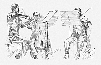 0097488 © Granger - Historical Picture ArchiveBRUSSELS STRING TRIO.   Left to right: Edmond Bouquet, François Broos, Adolphe Frézin. Pencil drawing by Hilda Wiener, early 20th century.