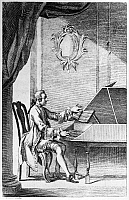 0113407 © Granger - Historical Picture ArchiveHARPSICHORD PLAYER.   A man seated at a harpsichord. Frontispiece of Thomas Jefferson's copy of 'The Compleat Tutor for the Harpsichod or Spinnet,' by Peter Prelleur, mid 18th century.