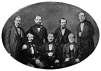 0267751 © Granger - Historical Picture ArchiveNEW YORK PHILHARMONIC.   The founders of the New York Philharmonic Society, photographed in 1842. Standing, left to right: Directors C. Brannes; J. Noll; Conductor Theodore Eisfeld; Librarian C. Pazzaglia. Seated: Secretary L. Spier; President H.C. Timm; Treasurer and Founder Daniel Walker.