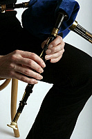 0376232 © Granger - Historical Picture ArchiveMUSICIAN AND INSTRUMENT.    Northumbrian pipes - being played by Alison Teale. Close-up of fingers on the chanter. Full credit: Chris Stock / Lebrecht Music & Arts / Granger, NYC -- All Rights Reserved.