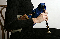 0376233 © Granger - Historical Picture ArchiveMUSICIAN AND INSTRUMENT.    Northumbrian pipes - being played by Alison Teale. Close-up of fingers on the chanter. Full credit: Chris Stock / Lebrecht Music & Arts / Granger, NYC -- All Rights Reserved.