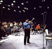 0398483 © Granger - Historical Picture ArchiveJAZZ MUSIC.    Dizzy Gillespie of The Kenny Clarke - Francy Boland Big Band performing in TV studio, Copenhagen, November 1970. Band: 1961-1972. DG: American jazz trumpeter, bandleader, singer, and composer, 21 October 1917 - 6 January 1993. Full credit: JazzSign / Lebrecht Music & Arts / Granger, NYC -- All Rights Reserved.