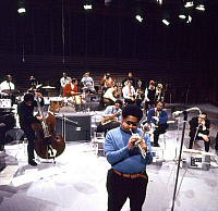 0398484 © Granger - Historical Picture ArchiveJAZZ MUSIC.    Dizzy Gillespie of The Kenny Clarke - Francy Boland Big Band performing in TV studio, Copenhagen, November 1970. Band: 1961-1972. DG: American jazz trumpeter, bandleader, singer, and composer, 21 October 1917 - 6 January 1993. Full credit: JazzSign / Lebrecht Music & Arts / Granger, NYC -- All Rights Reserved.
