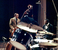 0398808 © Granger - Historical Picture ArchiveJAZZ MUSIC.    Elvin Jones Trio with Joe Farrell and Jimmy Garrison performing in Copenhagen, October 1968. EJ: jazz drummers, 9 September 1927 - 18 May 2004. Full credit: JazzSign / Lebrecht Music & Arts / Granger, NYC -- All rights reserv