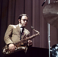0399588 © Granger - Historical Picture ArchiveJAZZ MUSIC.    Joe Farrell in Copenhagen, October 1968. JF: American jazz saxophonist and flutist, 16 December 1937 - 6 January 1986. Full credit: JazzSign / Lebrecht Music & Arts / Granger, NYC -- All rights reserved.