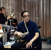 0399774 © Granger - Historical Picture ArchiveJAZZ MUSIC.    Johnny Griffin of of The Kenny Clarke - Francy Boland Big Band performing in TV studio Copenhagen July 1969. Band: 1961-1972. JG: American bop and hard bop tenor saxophonist, 24 April 1928 - 25 July 2008. Full credit: JazzSign / Lebrecht Music & Arts / Granger, NYC -- All rights reser