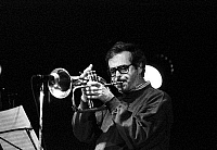 0399905 © Granger - Historical Picture ArchiveJAZZ MUSIC.    Kenny Wheeler performing in Jazzhouse Montmartre Copenhagen September 1991. KW: Canadian composer, trumpet and flugelhorn player, b. 14 January 1930 -. Full credit: JazzSign / Lebrecht Music & Arts / Granger, NYC -- All right