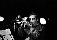 0399906 © Granger - Historical Picture ArchiveJAZZ MUSIC.    Kenny Wheeler performing in Jazzhouse Montmartre Copenhagen September 1991. KW: Canadian composer, trumpet and flugelhorn player, b. 14 January 1930 -. Full credit: JazzSign / Lebrecht Music & Arts / Granger, NYC -- All right