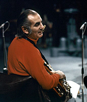 0401098 © Granger - Historical Picture ArchiveJAZZ MUSIC.    Ronnie Scott of The Kenny Clarke - Francy Boland Big Band performing in TV studio, Copenhagen, November 1970. Band: 1961-1972. RS: English jazz tenor saxophonist, 28 January 1927 - 23 December 1996. Full credit: JazzSign / Lebrecht Music & Arts / Granger, NYC -- All rights reserved.