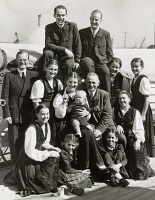0408074 © Granger - Historical Picture ArchiveTRAPP FAMILY, 1939.   The von Trapp Family Singers. Top row: Werner, Rupert; Second row: Franz Wasner, Johanna, Maria, Johannes, Georg, Hedwig, Maria Franziska; Front row: Agatha, Rosmarie and Eleonore. Photograph by Edward Lynch, 1939.