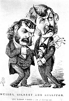 0041037 © Granger - Historical Picture ArchiveGILBERT & SULLIVAN.   Sir Arthur Sullivan (left) and Sir William Schwenck Gilbert: caricature, 1881, on the occasion of 'Patience'.