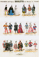 0065362 © Granger - Historical Picture ArchiveRIGOLETTO COSTUMES, 1851.   Designed for the premiere of the opera at the Teatro La Fenice on March 11, 1851.