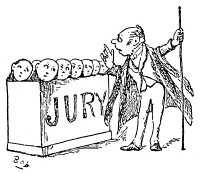 0066189 © Granger - Historical Picture ArchiveGILBERT & SULLIVAN: TRIAL.   'Trial by Jury.' 'From bias free of every kind, this trial must be tried.' Drawing by William Schwenck Gilbert from his 'Bab Ballads.'