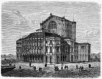 0100133 © Granger - Historical Picture ArchiveBAYREUTH: FESTSPIELHAUS.   View of the Festpielhaus (Festival Theater) in Bayreuth, Germany, opened in 1876. Wood engraving, German, 1883.