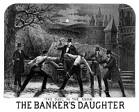 0130949 © Granger - Historical Picture ArchiveNIGHT DUEL, c1879.   'The Banker's Daughter.' American theatrical poster. Lithograph by Henry Atwell Thomas, c1879.
